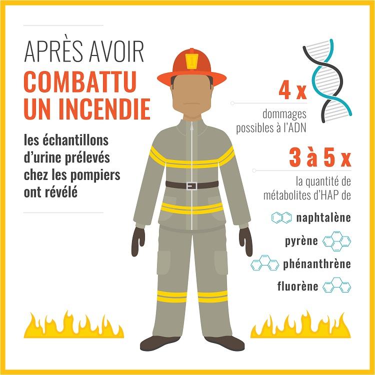 Graphique démontrant les résults des échantillons d'urine collectés auprès des pompiers