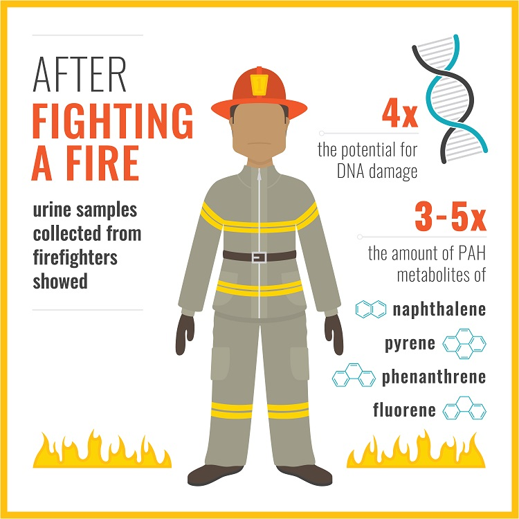 Graphic showing results of urine sample collected from firefighters