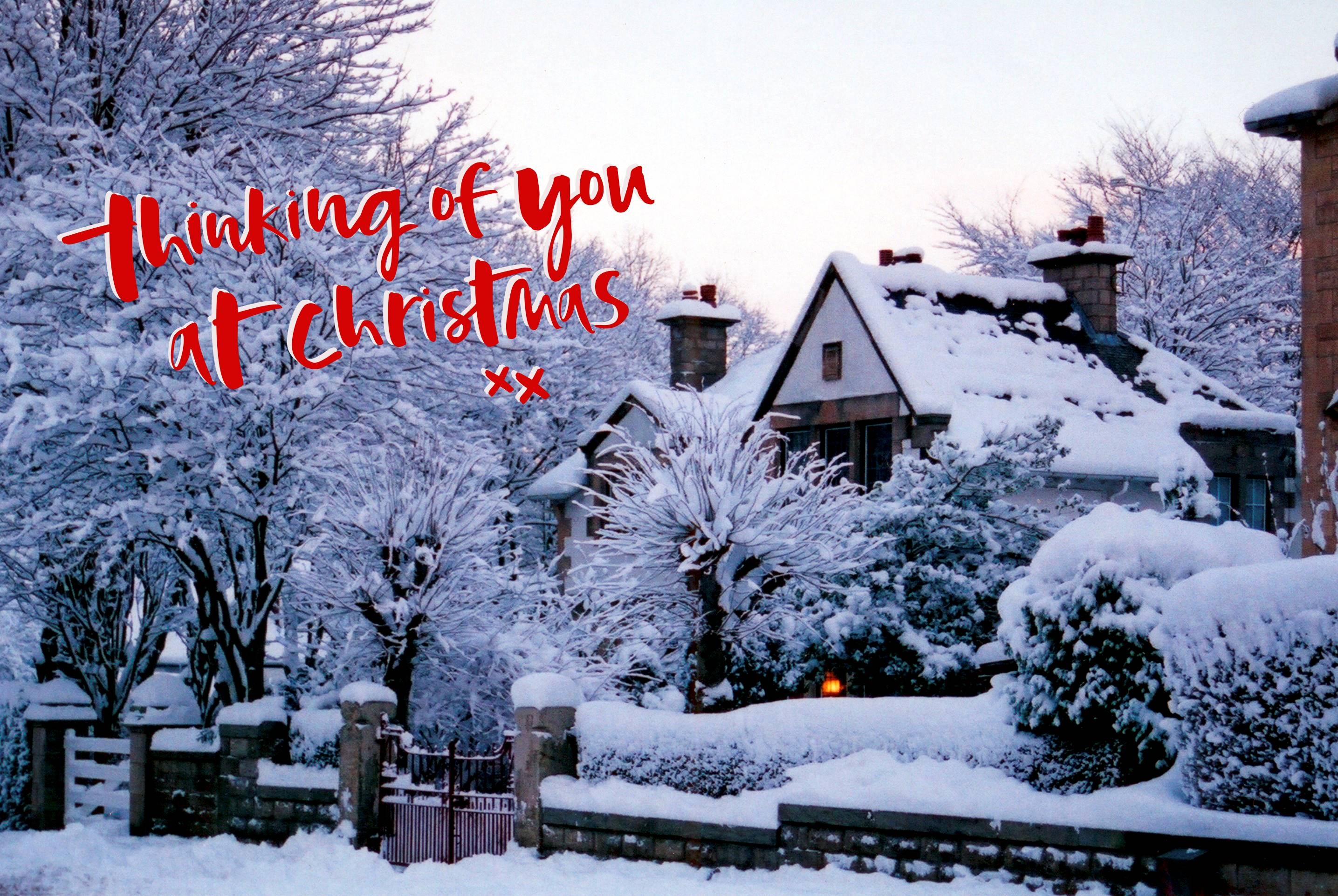 'Thinking of you at Christmas' Inspired by an original photograph by James McKillop. Design by Toowordy.